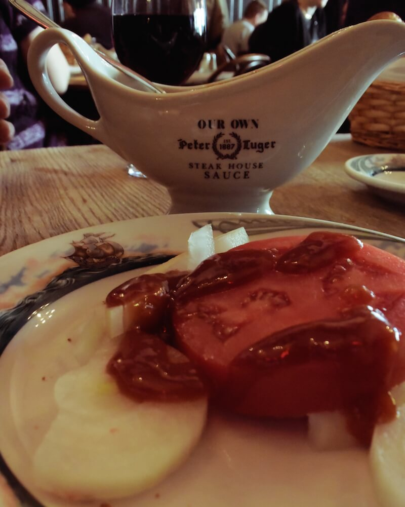 Beefsteak Tomato with Onions at Peter Luger | Dish Our Town