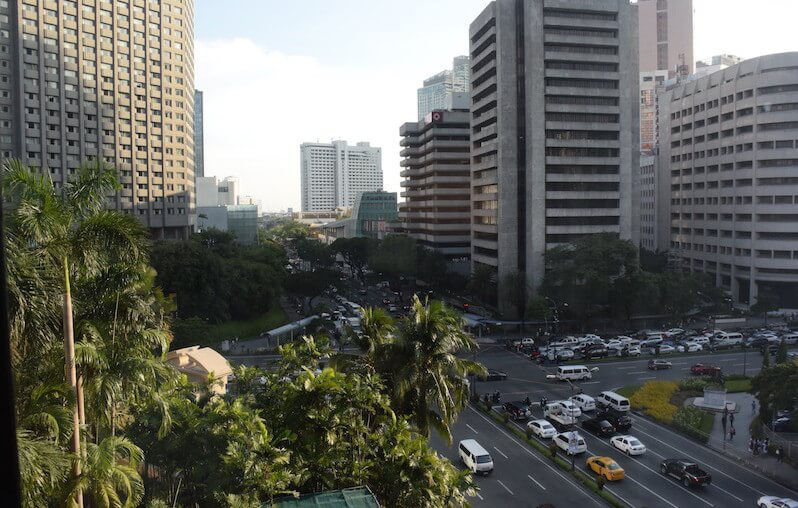 View from our room on the 7th floor of The Peninsula Hotel in Manila. Family Travel in Manila via @DishOurTown