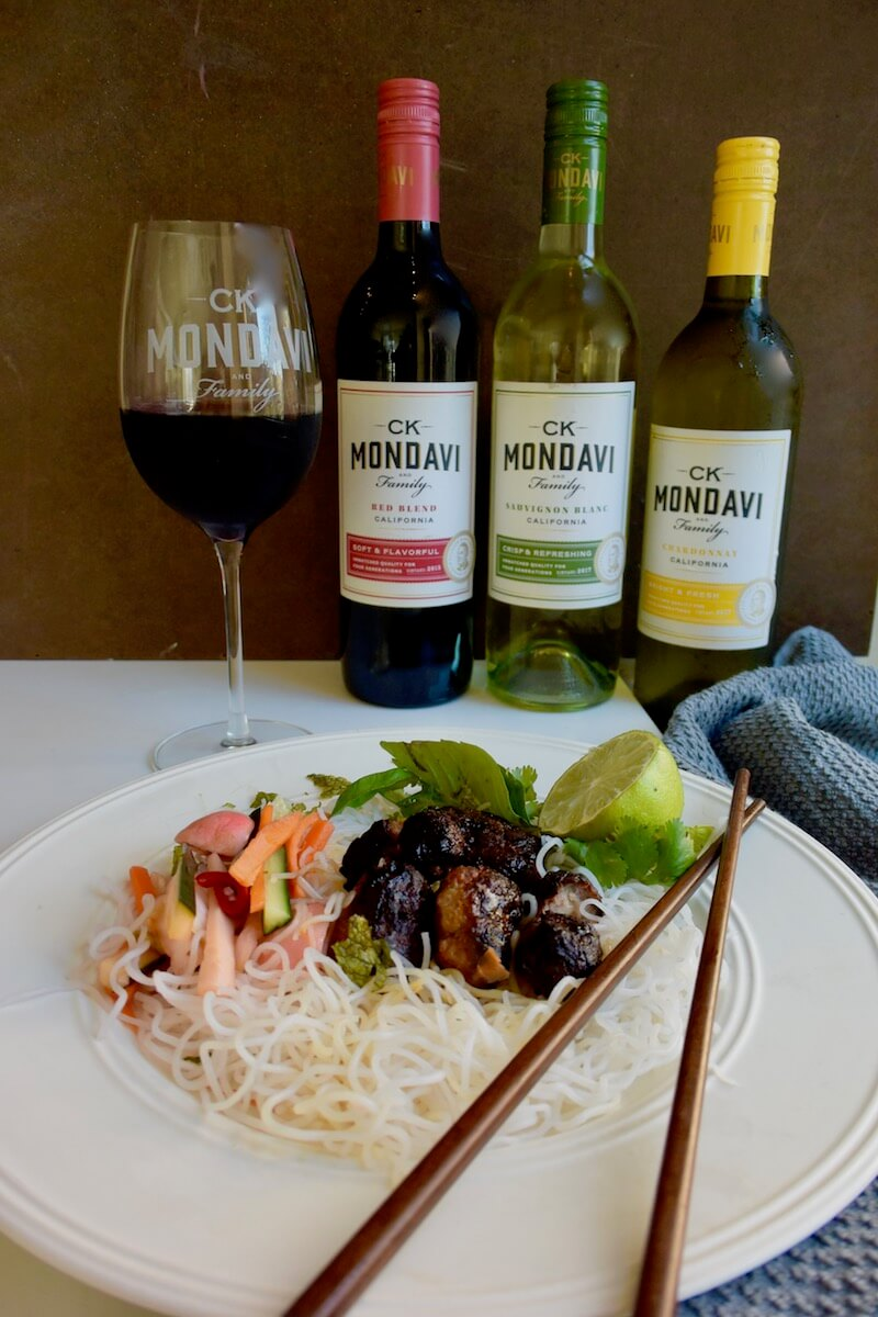 Cold Noodle Salad paired with CK Mondavi & Family Wines