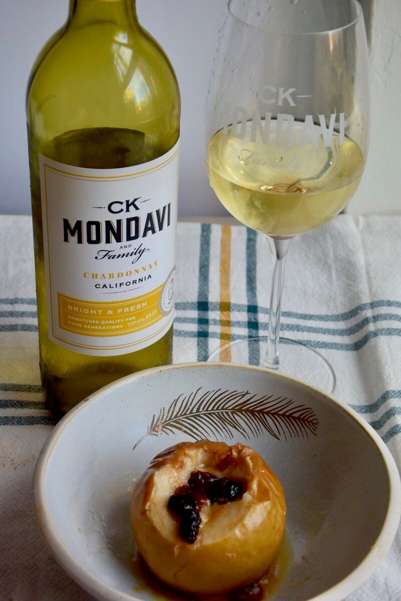 AD Baked Apples with Cheddar Cheese, Sugar. Cranberries and CK Mondavi Chardonnay. A very easy dessert to make in autumn or the Christmas Season. #CKMondaviWines #CKMondaviAmbassador #CKMondaviHolidayBaking